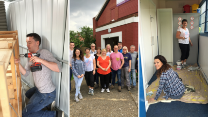 Collage of images of RBI employees volunteering at Horizon Church Sutton