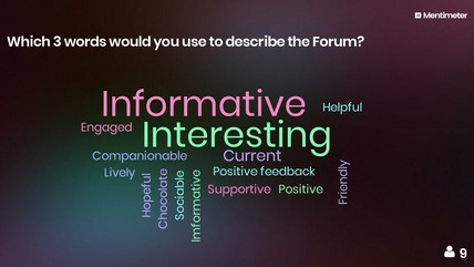 Word cloud of answers to an evaluation question from Forum