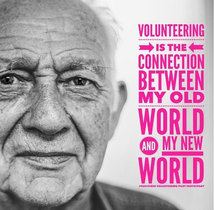 Picture of elderly man with volunteering quote