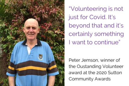 Pete Jemson Outstanding Volunteer of the Year Sutton Community Awards 2020